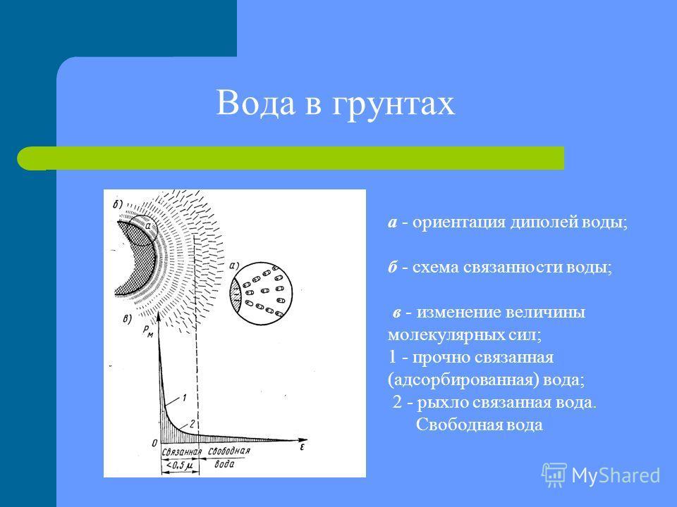 Вода в грунтах а - ориентация диполей воды; б - схема связанности воды; в - изменение величины молекулярных сил; 1 - прочно связанная (адсорбированная) вода; 2 - рыхло связанная вода. Свободная вода