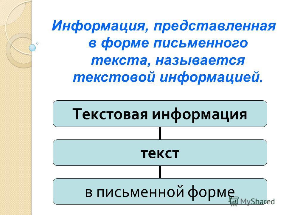 Информация, представленная в форме письменного текста, называется текстовой информацией. Текстовая информация текст в письменной форме