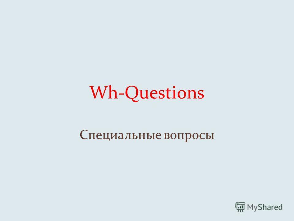 Wh-Questions Специальные вопросы