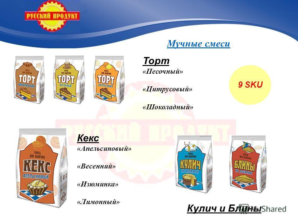 9 SKU Кекс «Апельсиновый» «Весенний» «Изюминка» «Лимонный» Торт «Песочный» «Цитрусовый» «Шоколадный» Кулич и Блины
