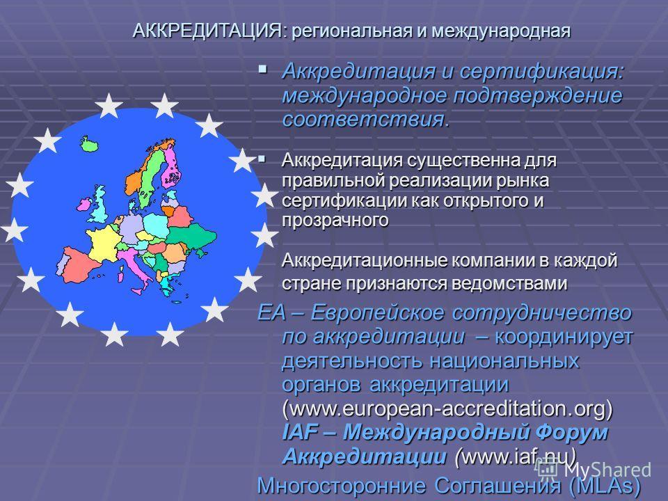 АККРЕДИТАЦИЯ: региональная и международная Аккредитация и сертификация: международное подтверждение соответствия. Аккредитация и сертификация: международное подтверждение соответствия. Аккредитация существенна для правильной реализации рынка сертифик
