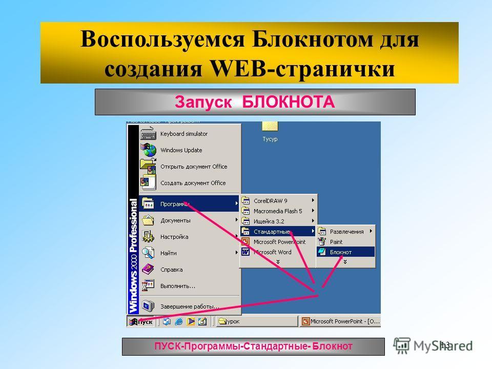 13 Запуск БЛОКНОТА ПУСК-Программы-Стандартные- Блокнот Воспользуемся Блокнотом для создания WEB-странички