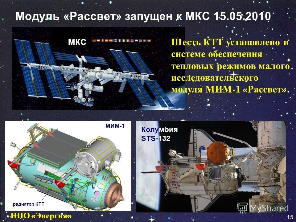 15 Модуль «Рассвет» запущен к МКС 15.05.2010 радиатор КТТ МИМ-1 Колумбия STS-132 МКС Шесть КТТ установлено в системе обеспечения тепловых режимов малого исследовательского модуля МИМ -1 « Рассвет » 1515 НПО « Энергия »