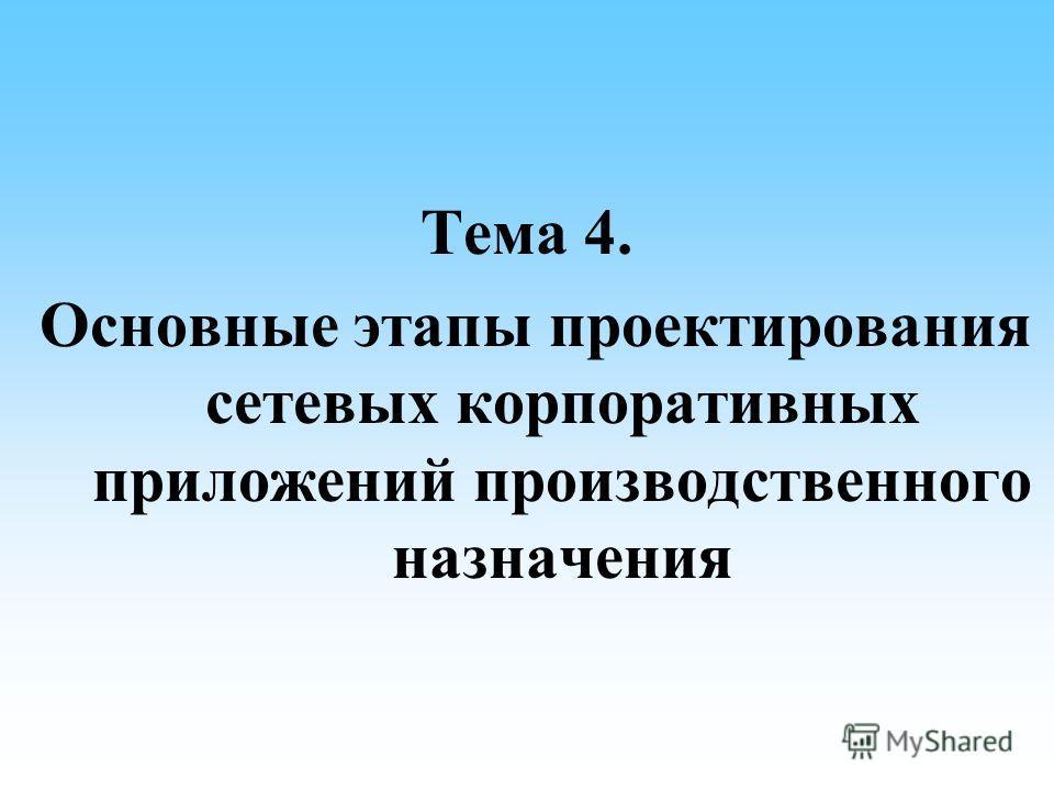 Тема 4. Основные этапы проектирования сетевых корпоративных приложений производственного назначения