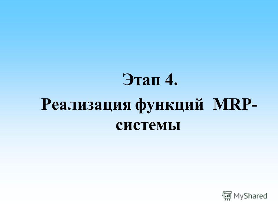 Этап 4. Реализация функций MRP- системы