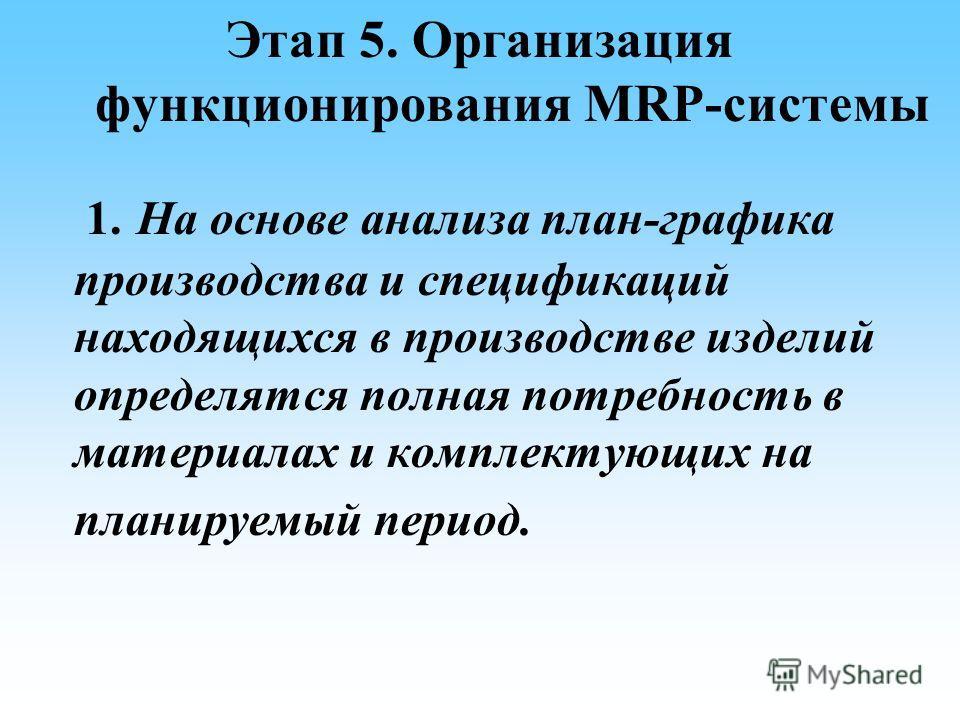 Этап 5. Организация функционирования MRP-системы 1. На основе анализа план-графика производства и спецификаций находящихся в производстве изделий определятся полная потребность в материалах и комплектующих на планируемый период.