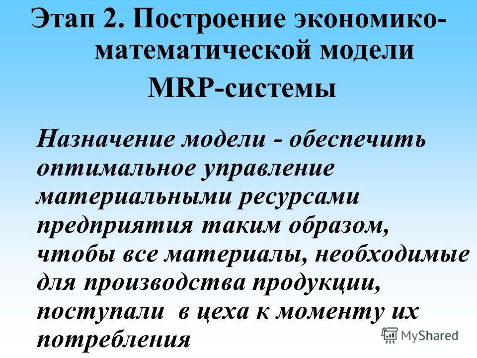 Этап 2. Построение экономико- математической модели MRP-системы Назначение модели - обеспечить оптимальное управление материальными ресурсами предприятия таким образом, чтобы все материалы, необходимые для производства продукции, поступали в цеха к м