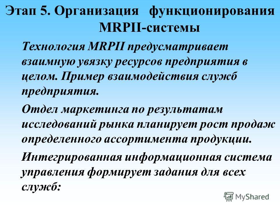 Этап 5. Организация функционирования MRPII-системы Технология MRPII предусматривает взаимную увязку ресурсов предприятия в целом. Пример взаимодействия служб предприятия. Отдел маркетинга по результатам исследований рынка планирует рост продаж опреде