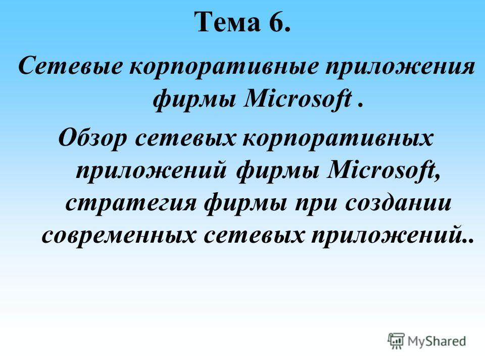 Тема 6. Сетевые корпоративные приложения фирмы Microsoft. Обзор сетевых корпоративных приложений фирмы Microsoft, стратегия фирмы при создании современных сетевых приложений..