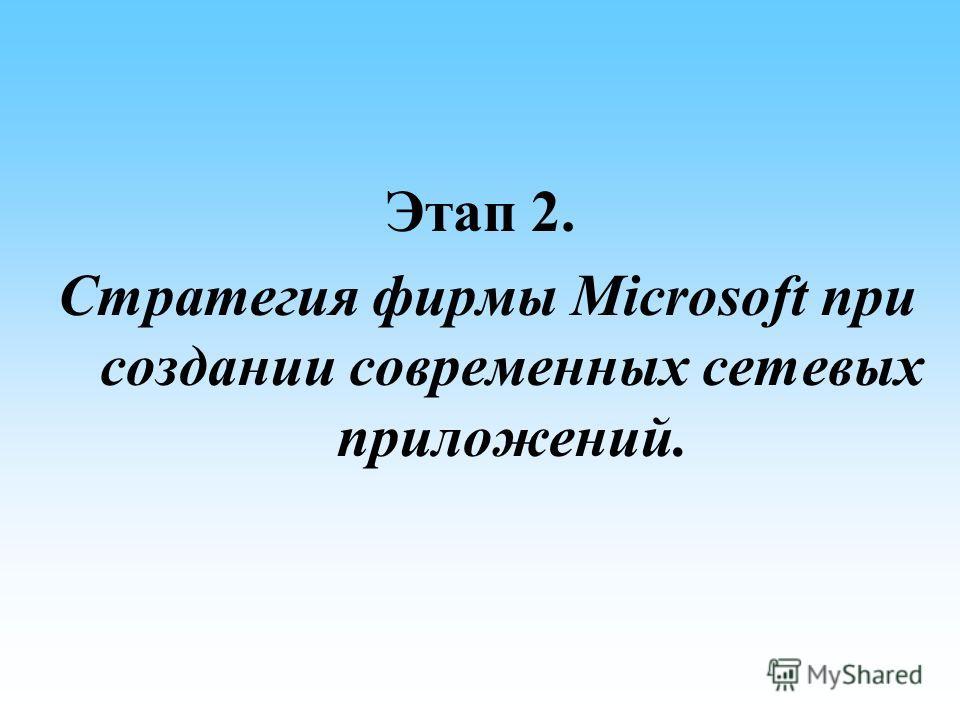 Этап 2. Стратегия фирмы Microsoft при создании современных сетевых приложений.