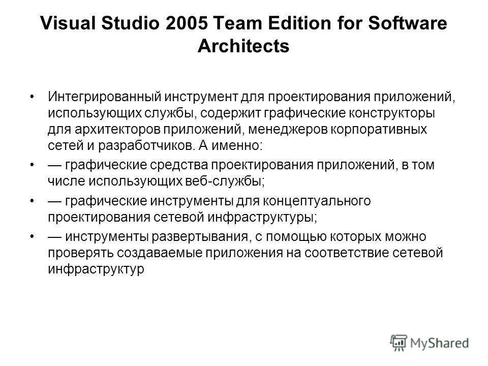 Visual Studio 2005 Team Edition for Software Architects Интегрированный инструмент для проектирования приложений, использующих службы, содержит графические конструкторы для архитекторов приложений, менеджеров корпоративных сетей и разработчиков. А им