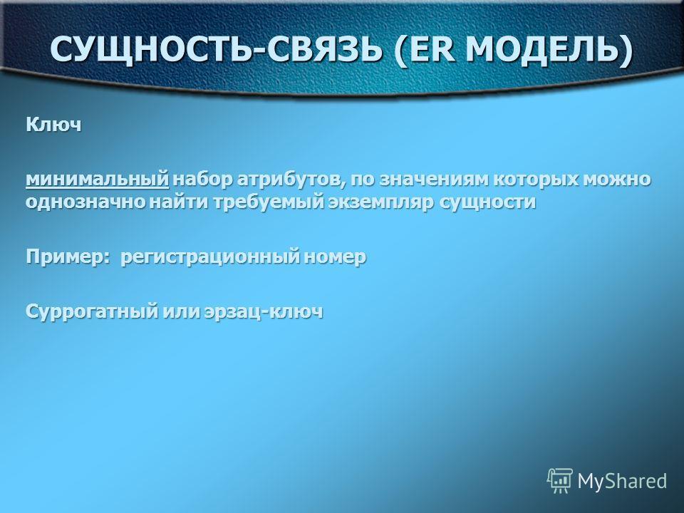 СУЩНОСТЬ-СВЯЗЬ (ER МОДЕЛЬ) Ключ минимальный набор атрибутов, по значениям которых можно однозначно найти требуемый экземпляр сущности Пример: регистрационный номер Суррогатный или эрзац-ключ