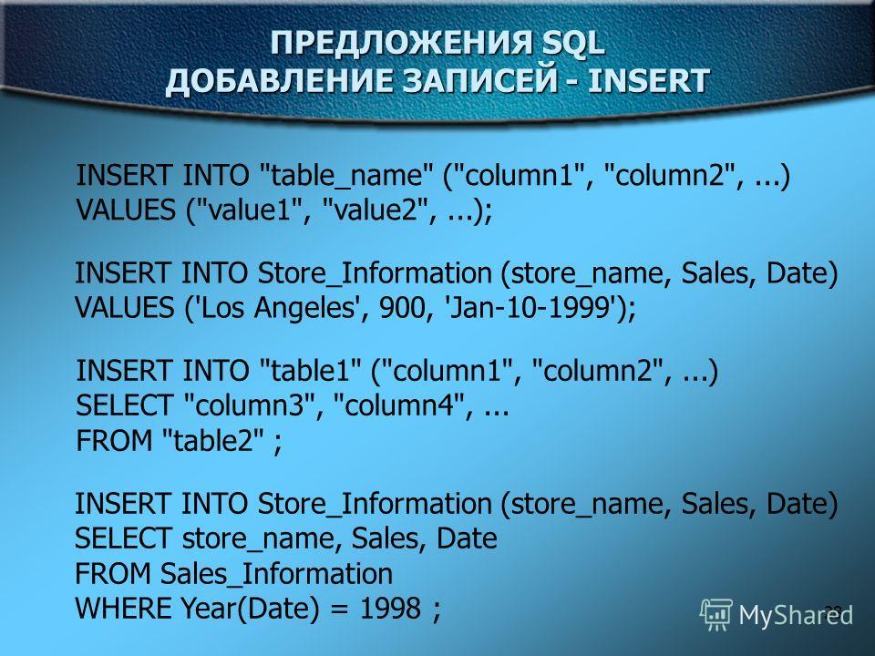 28 ПРЕДЛОЖЕНИЯ SQL ДОБАВЛЕНИЕ ЗАПИСЕЙ - INSERT INSERT INTO