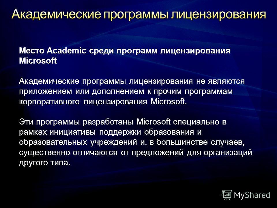 Место Academic среди программ лицензирования Microsoft Академические программы лицензирования не являются приложением или дополнением к прочим программам корпоративного лицензирования Microsoft. Эти программы разработаны Microsoft специально в рамках