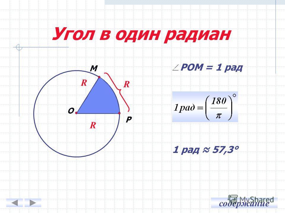 содержание R Угол в один радиан R R P O M 1 рад 57,3° РОМ = 1 рад