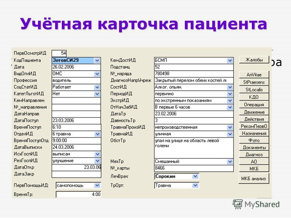 Учётная карточка пациента Заполнение формы первичного осмотра больного: