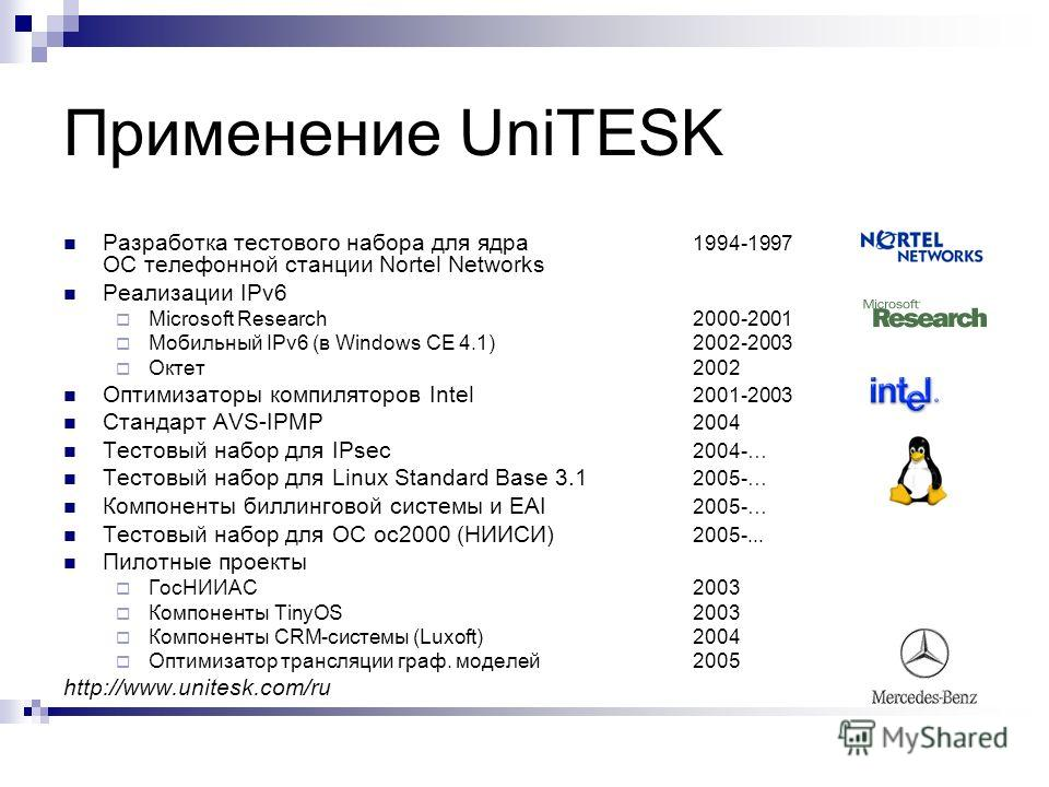Применение UniTESK Разработка тестового набора для ядра 1994-1997 ОС телефонной станции Nortel Networks Реализации IPv6 Microsoft Research2000-2001 Мобильный IPv6 (в Windows CE 4.1)2002-2003 Октет2002 Оптимизаторы компиляторов Intel 2001-2003 Стандар