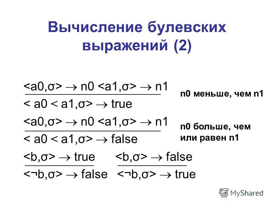 Вычисление булевских выражений (2) n0 n1 true n0 n1 false true false false true n0 меньше, чем n1 n0 больше, чем или равен n1