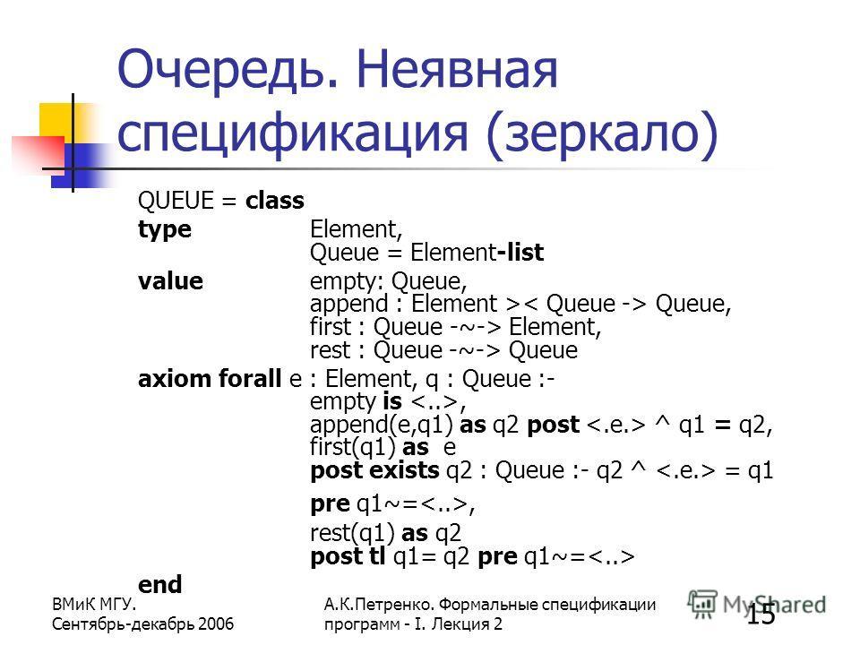 15 ВМиК МГУ. Сентябрь-декабрь 2006 А.К.Петренко. Формальные спецификации программ - I. Лекция 2 Очередь. Неявная спецификация (зеркало) QUEUE = class type Element, Queue = Element-list value empty: Queue, append : Element > Queue, first : Queue -~->