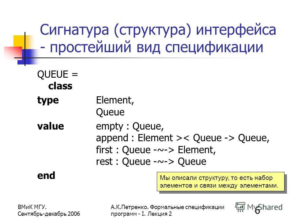6 ВМиК МГУ. Сентябрь-декабрь 2006 А.К.Петренко. Формальные спецификации программ - I. Лекция 2 Сигнатура (структура) интерфейса - простейший вид спецификации QUEUE = class type Element, Queue value empty : Queue, append : Element > Queue, first : Que