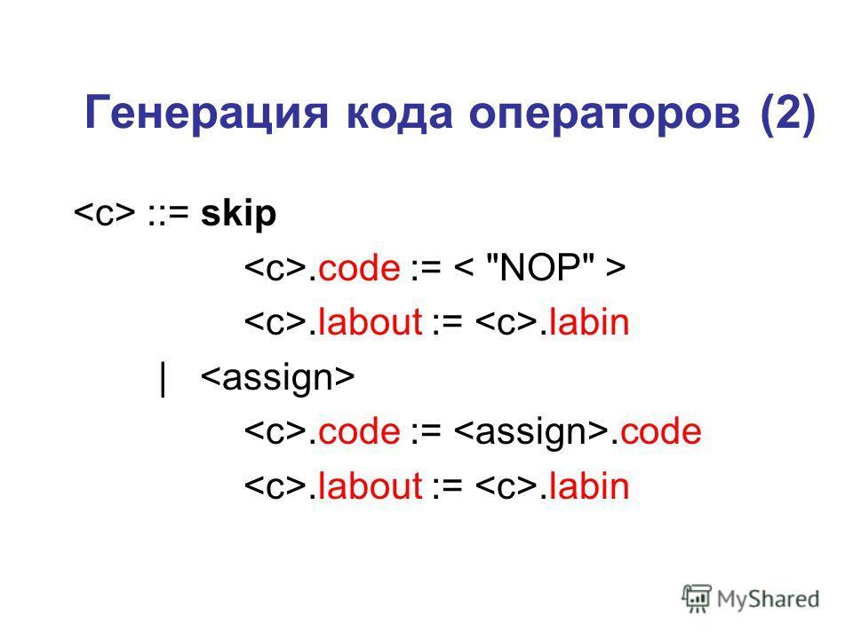 Генерация кода операторов (2) ::= skip.code :=.labout :=.labin |.code :=.code.labout :=.labin