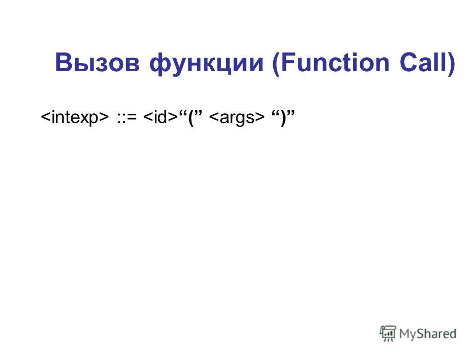 Вызов функции (Function Call) ::= ( )