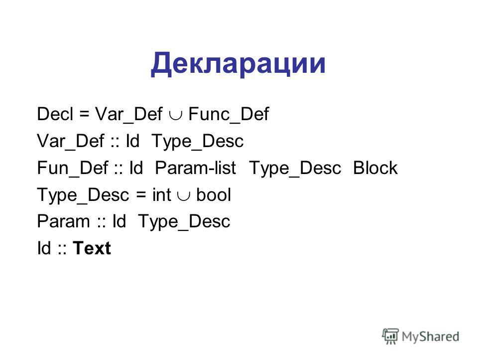 Декларации Decl = Var_Def Func_Def Var_Def :: Id Type_Desc Fun_Def :: Id Param-list Type_Desc Block Type_Desc = int bool Param :: Id Type_Desc Id :: Text