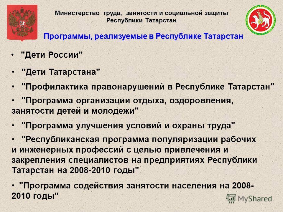 Министерство труда, занятости и социальной защиты Республики Татарстан Программы, реализуемые в Республике Татарстан