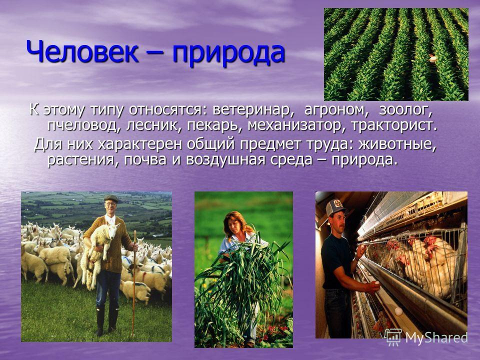 Человек – природа К этому типу относятся: ветеринар, агроном, зоолог, пчеловод, лесник, пекарь, механизатор, тракторист. Для них характерен общий предмет труда: животные, растения, почва и воздушная среда – природа. Для них характерен общий предмет т
