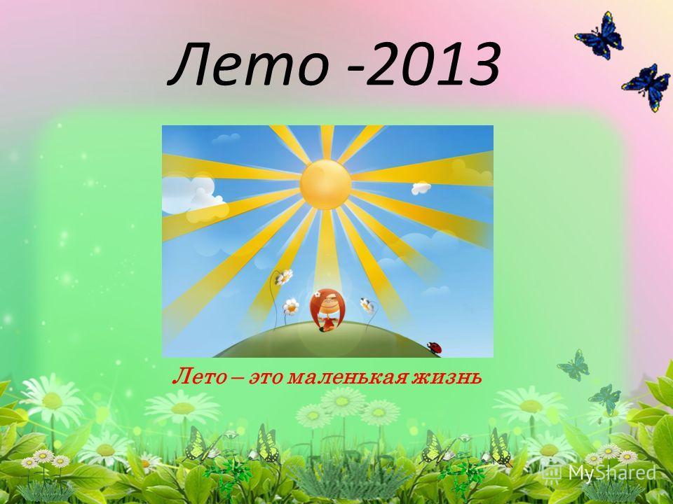 Лето -2013 Лето – это маленькая жизнь