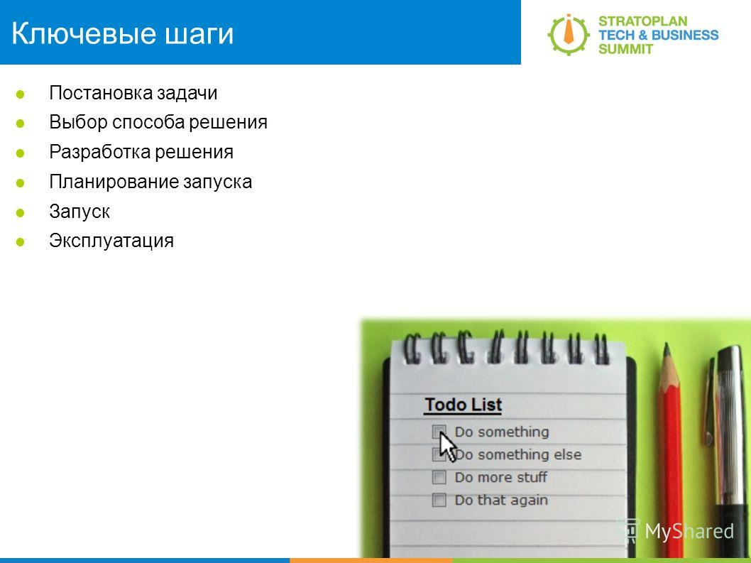 Ключевые шаги Постановка задачи Выбор способа решения Разработка решения Планирование запуска Запуск Эксплуатация