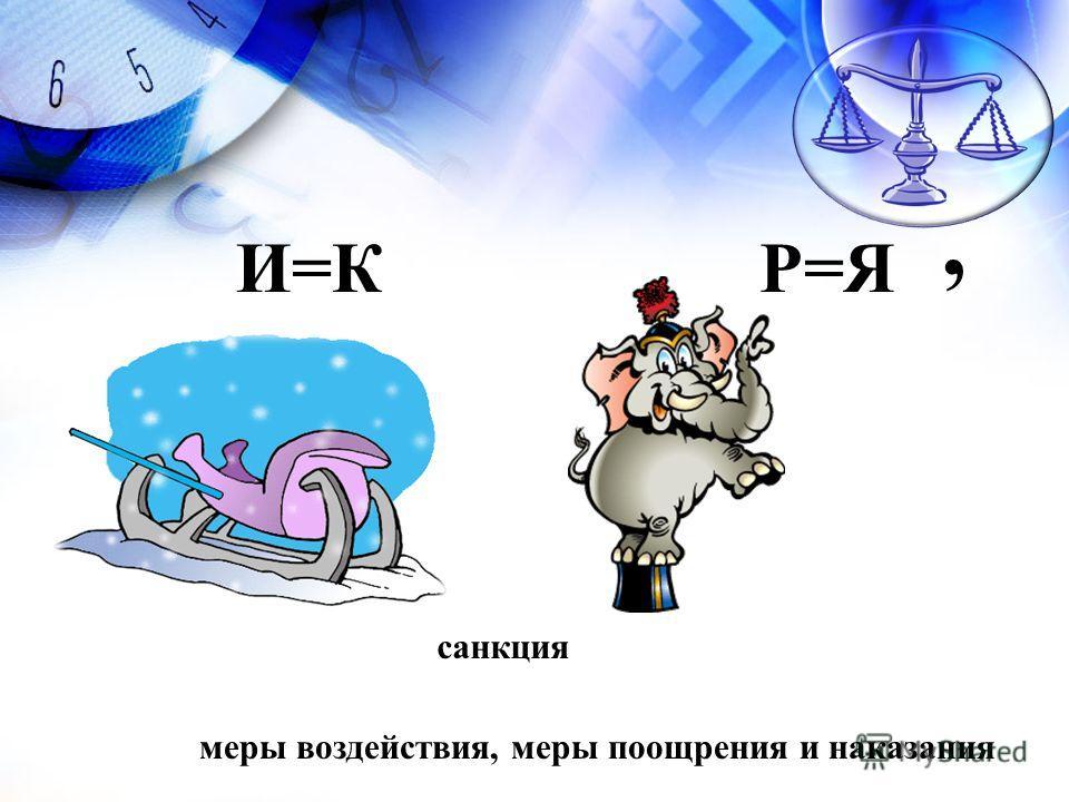 санкция меры воздействия, меры поощрения и наказания И=КР=Я