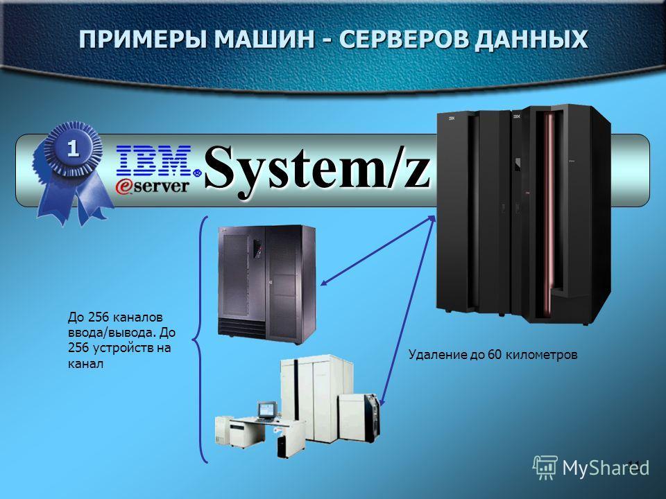 11 ПРИМЕРЫ МАШИН - СЕРВЕРОВ ДАННЫХ 1 System/z До 256 каналов ввода/вывода. До 256 устройств на канал Удаление до 60 километров