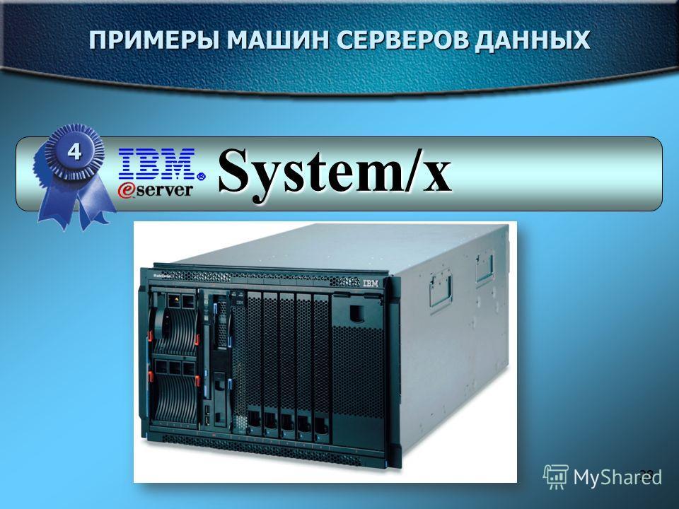 28 ПРИМЕРЫ МАШИН СЕРВЕРОВ ДАННЫХ 4 System/x