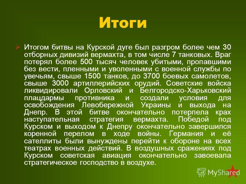 Итоги Итогом битвы на Курской дуге был разгром более чем 30 отборных дивизий вермахта, в том числе 7 танковых. Враг потерял более 500 тысяч человек убитыми, пропавшими без вести, пленными и уволенными с военной службы по увечьям, свыше 1500 танков, д