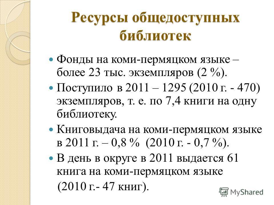 Ресурсы общедоступных библиотек Фонды на коми-пермяцком языке – более 23 тыс. экземпляров (2 %). Поступило в 2011 – 1295 (2010 г. - 470) экземпляров, т. е. по 7,4 книги на одну библиотеку. Книговыдача на коми-пермяцком языке в 2011 г. – 0,8 % (2010 г