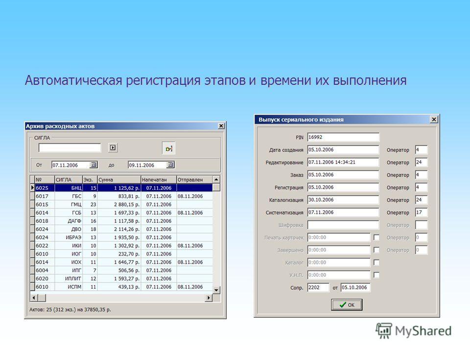 Автоматическая регистрация этапов и времени их выполнения