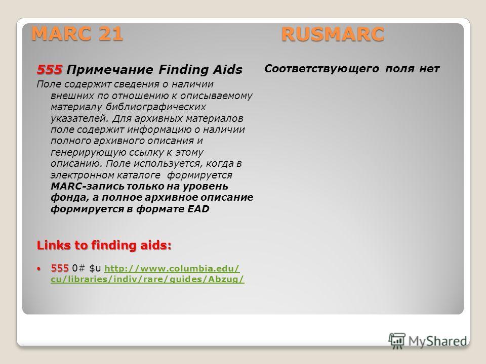 555 555 Примечание Finding Aids Поле содержит сведения о наличии внешних по отношению к описываемому материалу библиографических указателей. Для архивных материалов поле содержит информацию о наличии полного архивного описания и генерирующую ссылку к