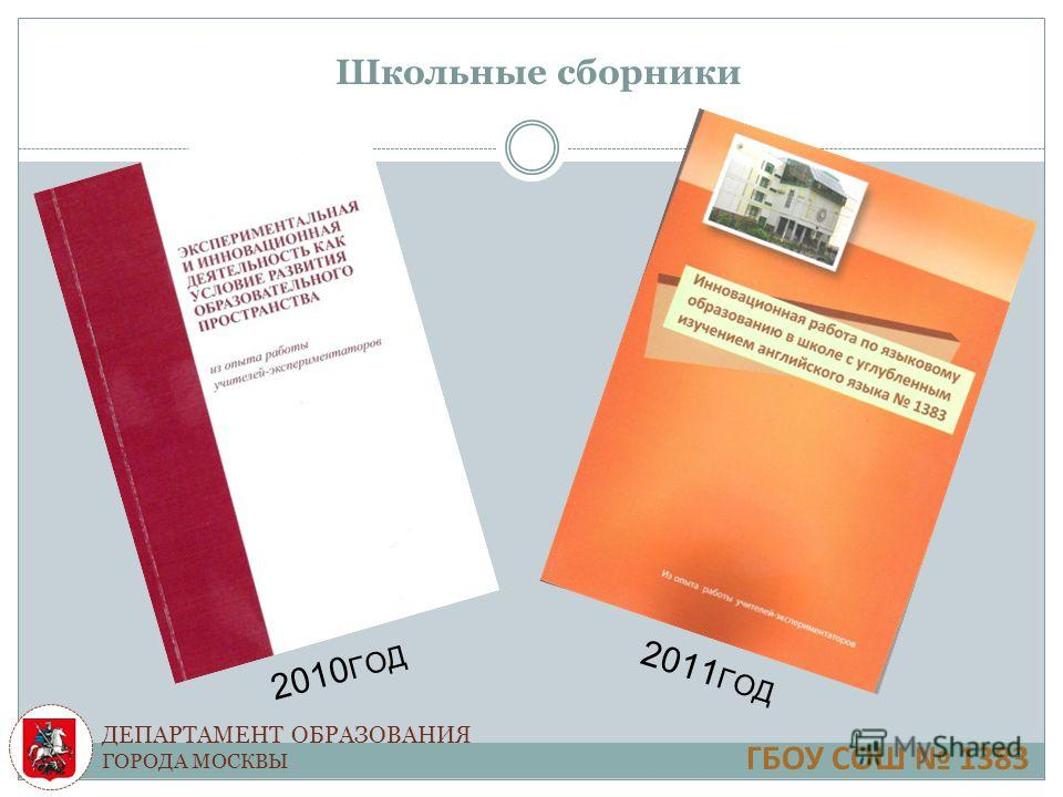 ДЕПАРТАМЕНТ ОБРАЗОВАНИЯ ГОРОДА МОСКВЫ Школьные сборники 2010 ГОД 2011 ГОД ГБОУ СОШ 1383