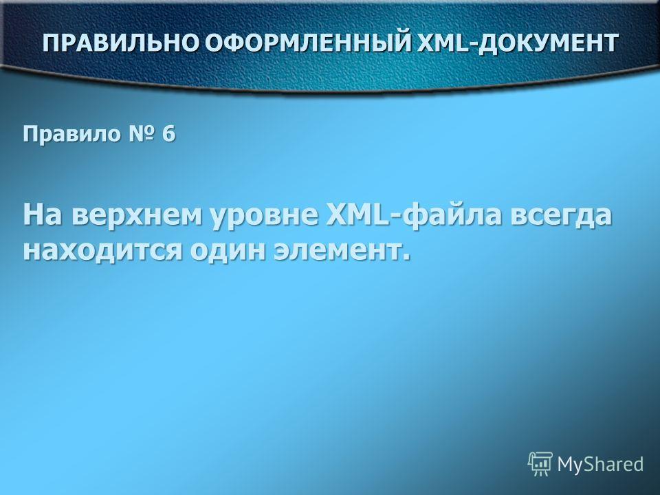 ПРАВИЛЬНО ОФОРМЛЕННЫЙ XML-ДОКУМЕНТ Правило 6 На верхнем уровне XML-файла всегда находится один элемент.
