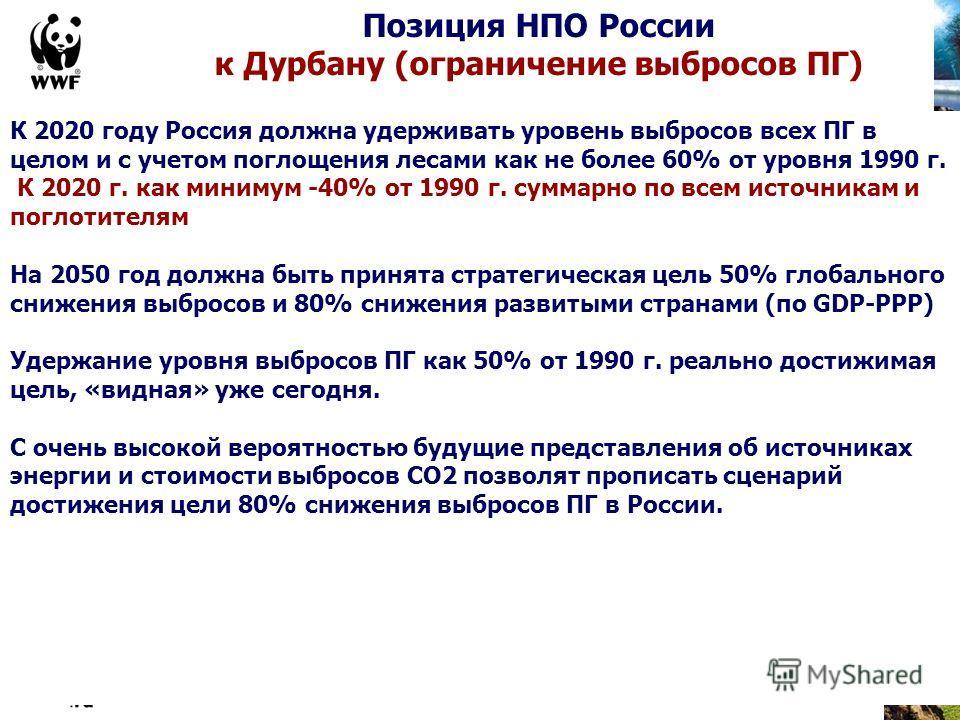 К 2020 году Россия должна удерживать уровень выбросов всех ПГ в целом и с учетом поглощения лесами как не более 60% от уровня 1990 г. К 2020 г. как минимум -40% от 1990 г. суммарно по всем источникам и поглотителям На 2050 год должна быть принята стр
