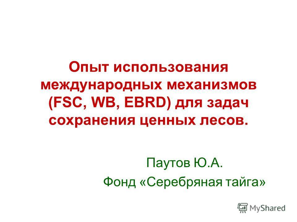 Опыт использования международных механизмов (FSC, WB, EBRD) для задач сохранения ценных лесов. Паутов Ю.А. Фонд «Серебряная тайга»