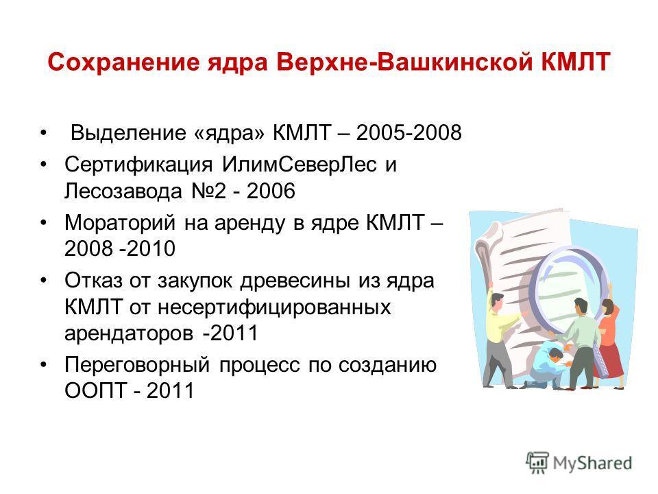 Сохранение ядра Верхне-Вашкинской КМЛТ Выделение «ядра» КМЛТ – 2005-2008 Сертификация ИлимСеверЛес и Лесозавода 2 - 2006 Мораторий на аренду в ядре КМЛТ – 2008 -2010 Отказ от закупок древесины из ядра КМЛТ от несертифицированных арендаторов -2011 Пер