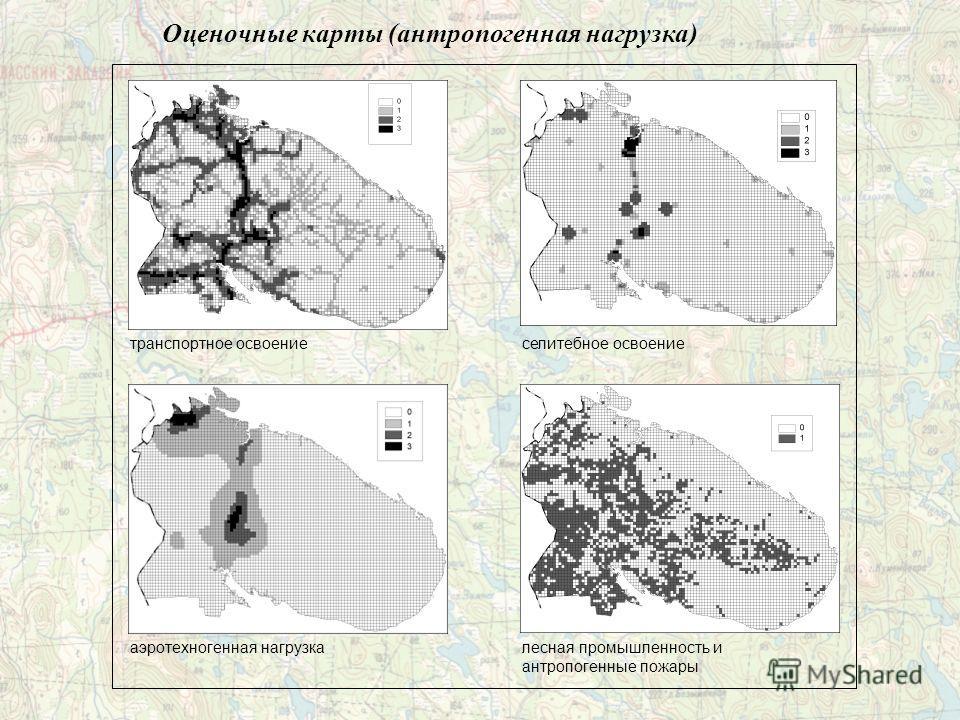 Оценочные карты (антропогенная нагрузка) транспортное освоение аэротехногенная нагрузка селитебное освоение лесная промышленность и антропогенные пожары