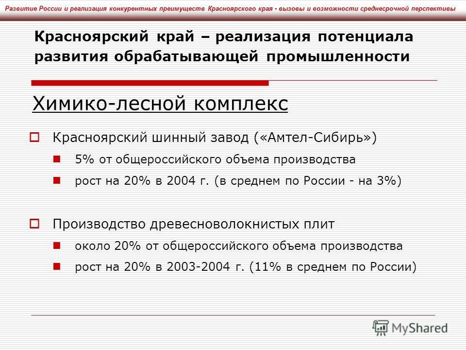 Красноярский шинный завод («Амтел-Сибирь») 5% от общероссийского объема производства рост на 20% в 2004 г. (в среднем по России - на 3%) Производство древесноволокнистых плит около 20% от общероссийского объема производства рост на 20% в 2003-2004 г.