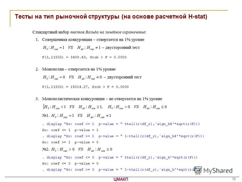 ЦМАКП 10 Тесты на тип рыночной структуры (на основе расчетной H-stat)
