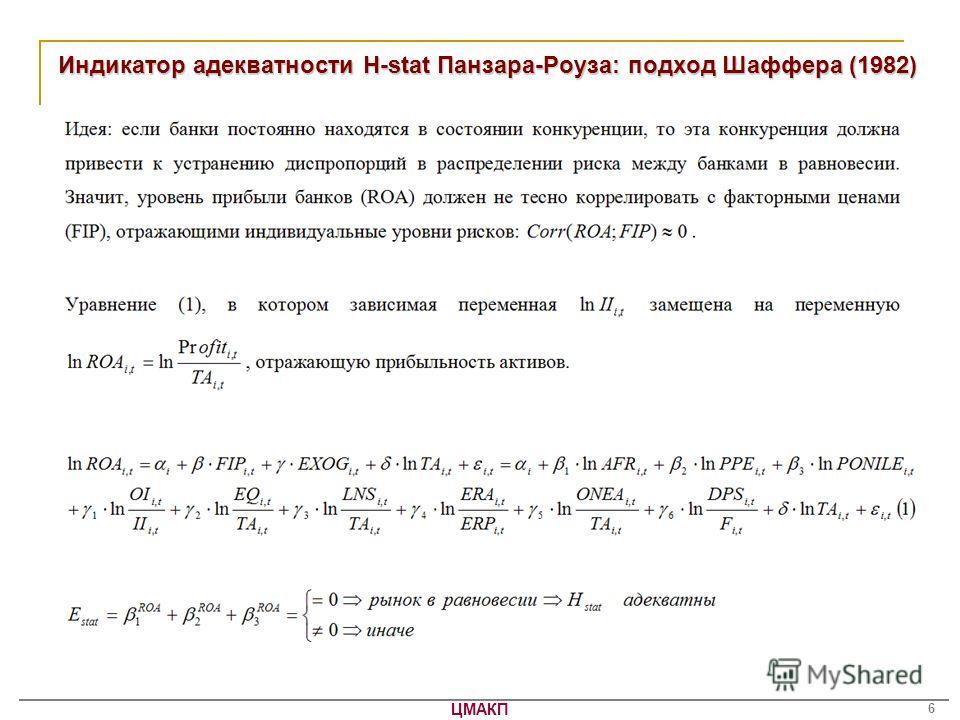 ЦМАКП 6 Индикатор адекватности H-stat Панзара-Роуза: подход Шаффера (1982)