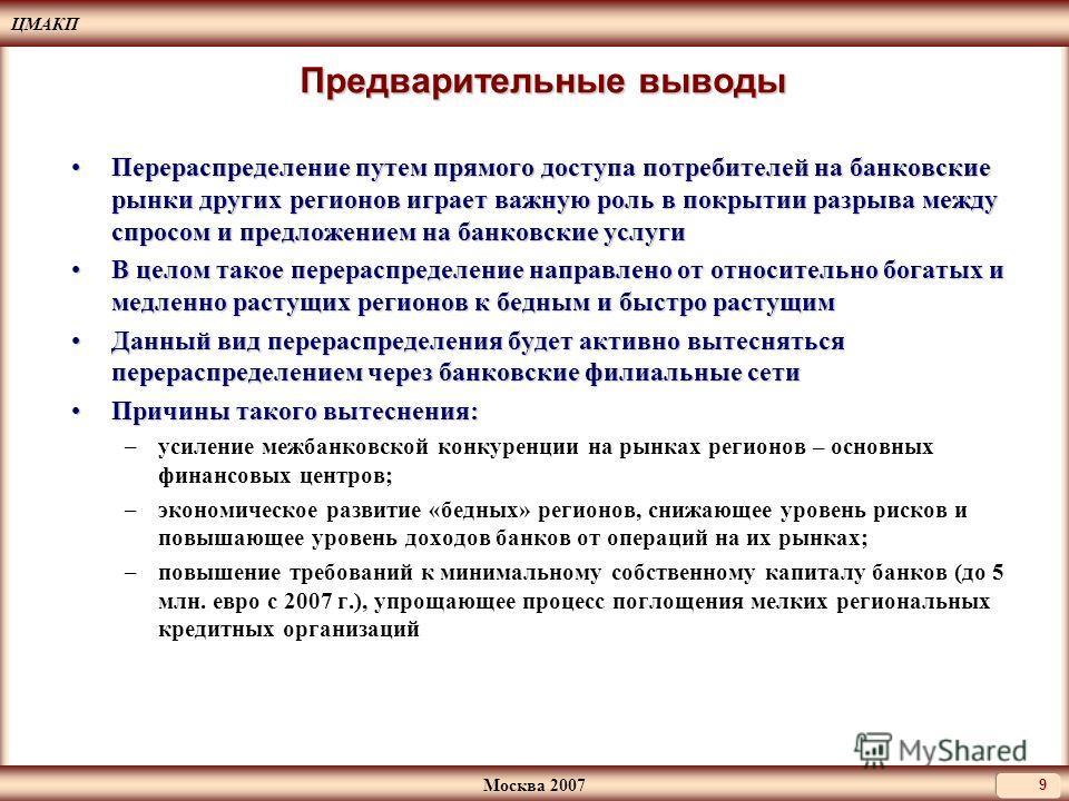 ЦМАКП Москва 2007 9 Предварительные выводы Перераспределение путем прямого доступа потребителей на банковские рынки других регионов играет важную роль в покрытии разрыва между спросом и предложением на банковские услугиПерераспределение путем прямого