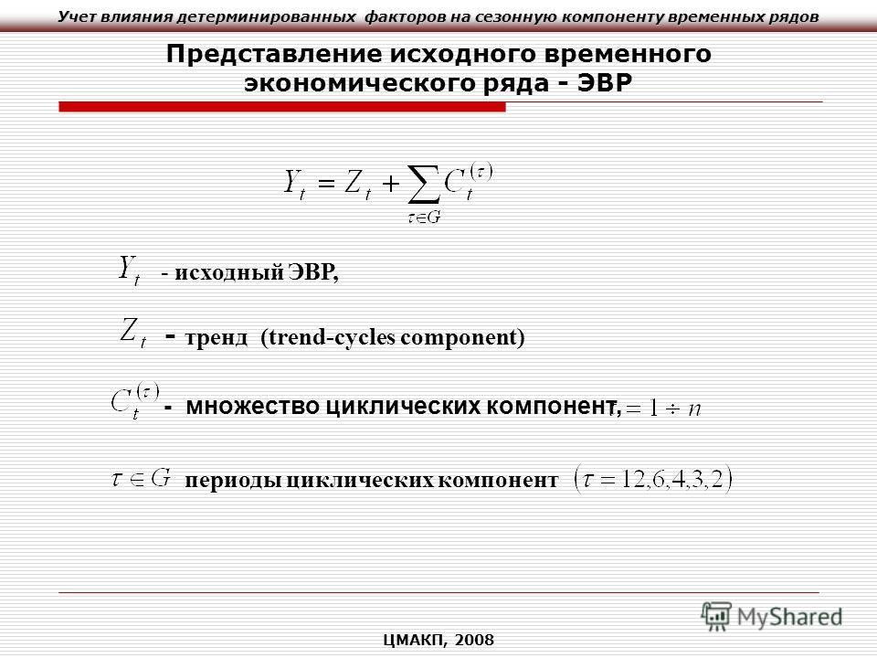 Учет влияния детерминированных факторов на сезонную компоненту временных рядов ЦМАКП, 2008 Представление исходного временного экономического ряда - ЭВР - исходный ЭВР, - тренд (trend-cycles component) - множество циклических компонент, периоды циклич