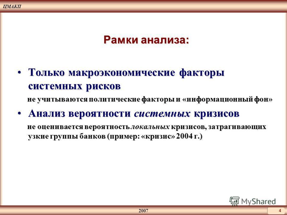 ЦМАКП 2007 4 Рамки анализа: Только макроэкономические факторы системных рисковТолько макроэкономические факторы системных рисков не учитываются политические факторы и «информационный фон» не учитываются политические факторы и «информационный фон» Ана